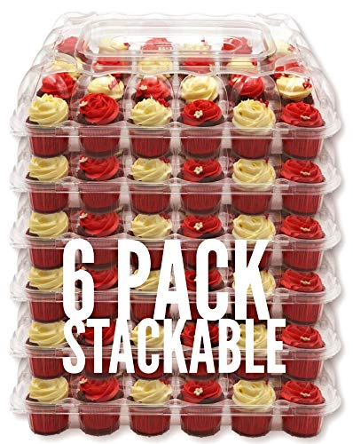 [6 Pack] BakeryBest Cupcake Carrier keeps 24 Cupcakes | Plastic Holder, Container, Storage Tray | Disposable, Reusable | Transport 144 cupcakes or muffins | Unhinged Lid | Non-Slip, Stackable