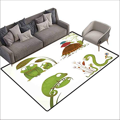 - Inner Door Rug Reptiles Reptile Family with Colorful Baby Collection Snake Frog Ninja Turtles Love Mother with Anti-Slip Support W5' x L7'10 Green Brown Red