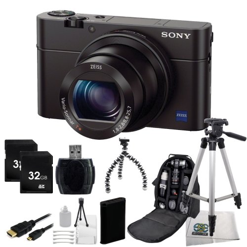 Sony Cyber-Shot DSC-RX100 III Digital Camera + 12PC Accessory Bundle. Includes Two 32GB Memory Cards + Extended Life Replacement Battery + Micro HDMI Cable + Tripod + Deluxe Backpack + More