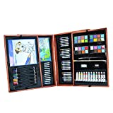 JIANGXIUQIN Artist Art Drawing Set, 177 Pieces - Portable Super-Luxury Wooden Box Art, Painting and Drawing Set, Containing All The Other Items You Need to Start. Gifts for Children and Children.