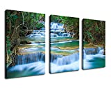 Waterfall Canvas Wall Art Blue Stream River in Green Forest Pictures Canvas Artwork - 3 Pieces Canvas Art 30'' x 60'' Nature Painting Spring Landscape Scenery for Office Wall Decor Home Decorations