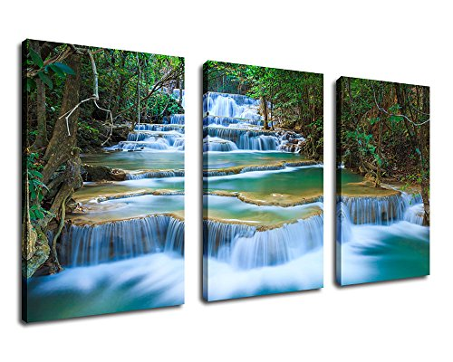 Waterfall Canvas Wall Art Blue Stream River in Green Forest Pictures Canvas Artwork - 3 Pieces Canvas Art 30'' x 60'' Nature Painting Spring Landscape Scenery for Office Wall Decor Home Decorations by yearainn