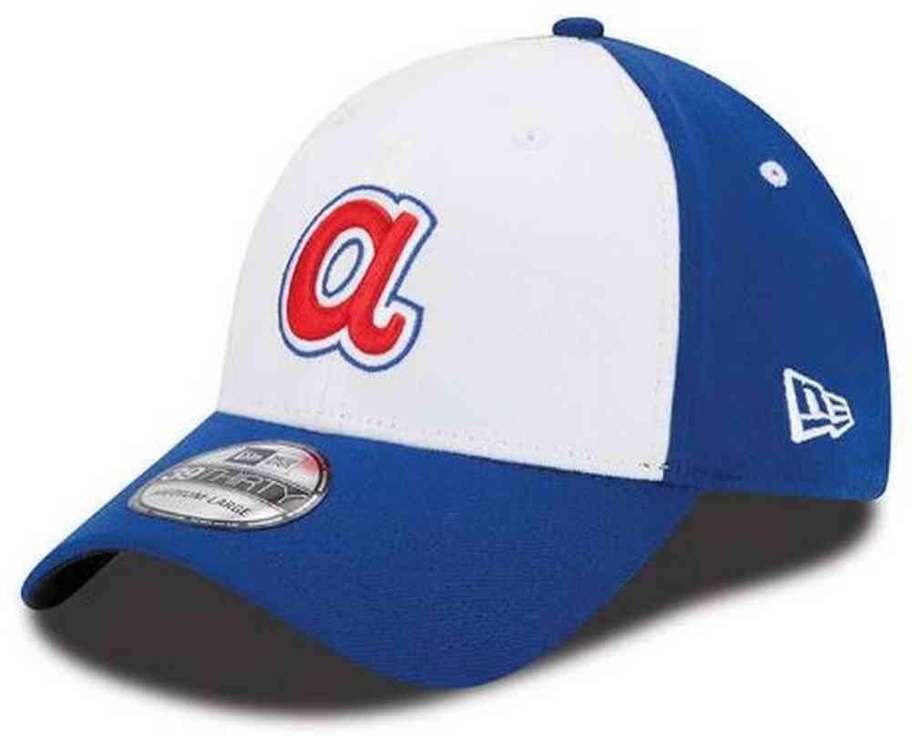 New Era MLB Atlanta Braves Team Classic 39THIRTY Stretch Fit Cap Cooperstown, Small/Medium, White
