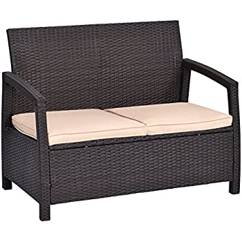 Beautiful Tangkula Outdoor Loveseat Bench Couch Chair With Cushions Patio Furniture