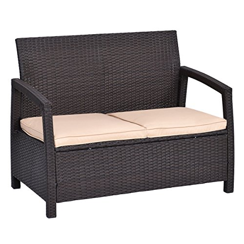 Tangkula Outdoor Loveseat Bench Couch Chair With Cushions Patio Furniture