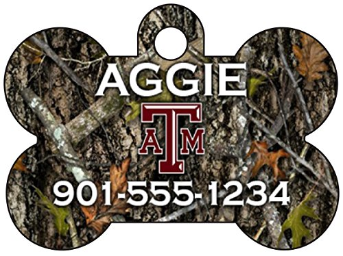 - uDesignUSA Realtree Camo NCAA Personalized Pet Id Tag for Dogs & Cats w/Name & Number (Texas A&M Aggies)