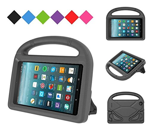 Kids Case for Kindle Fire HD 8 2017, MENZO Light Weight Shockproof Silicone Handle Stand Kids Friendly Case for Fire HD 8 inch (2017 released), Black