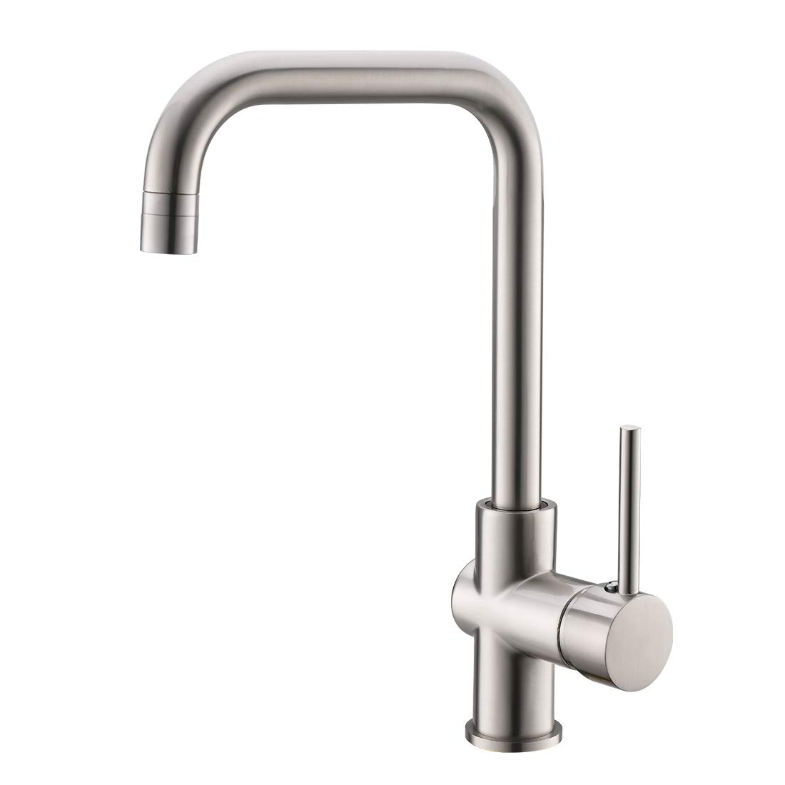WANMAI Commercial Single Handle Kitchen Faucet, 360 Degree Rotation High Arc Brushed Bar Sink Faucets with Solid Brass Body Ceramic Valve, Brushed Nickel