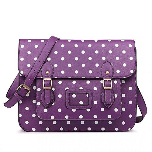 Women Ladies Girls Cambridge Style School Work Satchel Bag Polka Dot Purple