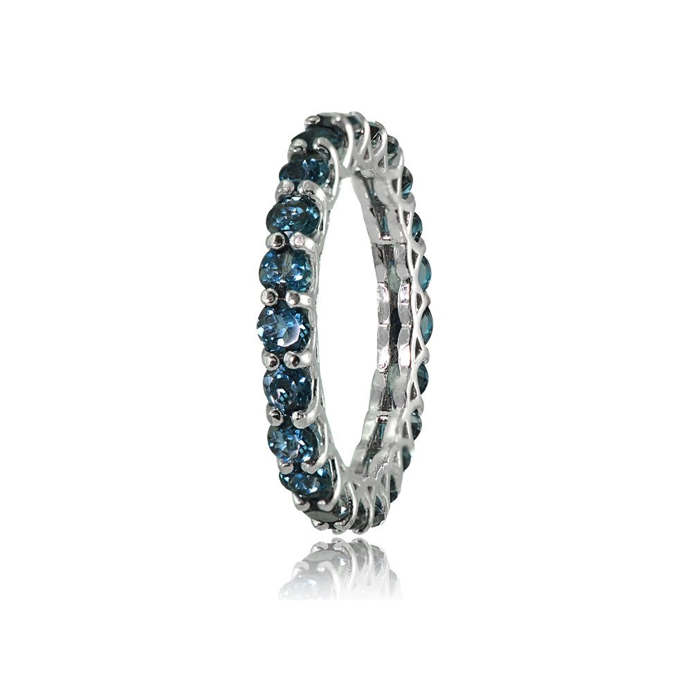 Ice Gems Sterling Silver London Blue Topaz 3mm Round-Cut Eternity Band Ring, Size 7 by Ice Gems (Image #2)
