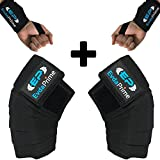 Knee Wraps (Pair) and Wrist Wraps (Pair) for Squats - Cross Training Wod, Gym Workout, Weightlifting, Fitness & Powerlifting - Compression & Elastic Support - Knee Strap - Leg Wraps (Black)