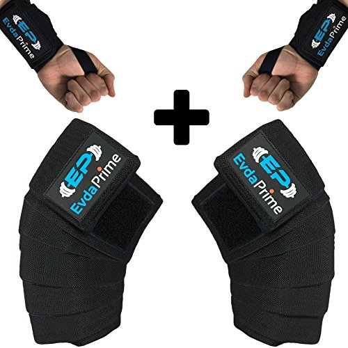 Knee Wraps (Pair) and Wrist Wraps (Pair) for Squats - Cross Training Wod, Gym Workout, Weightlifting, Fitness & Powerlifting - Compression & Elastic Support - Knee Strap - Leg Wraps (Black) by EVDA PRIME