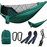Tolaccea Hammock with Netting Mosquito Lightweight Hammock Indoor Outdoor Double & Single Hammock for Backpacking, Travel, Beach, Yard, Hiking, Adventures.