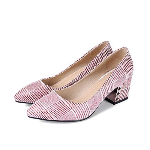Mujeres Toe Mei del amp;S Las Superficial Zapatos Red Bloque Talón Boca Señaló x0rE0wtq