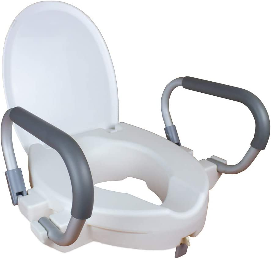 Mobiclinic Toilet Seat Riser, Lid and Foldable Armrests, Height 10cm, Alcalá