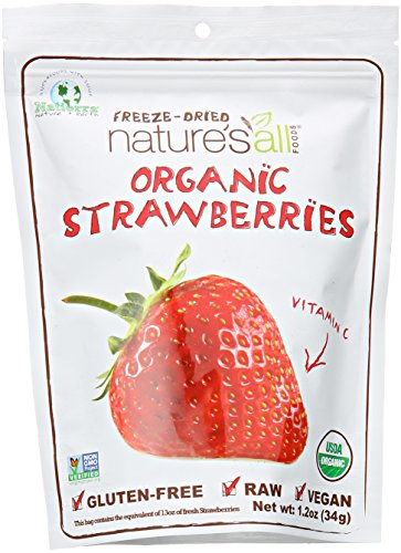 Nature's All Foods Organic Freeze-Dried Strawberries, 1.2 Ounce Pouches (Pack of 3)