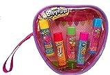 Shopkins Lip Balm 5 Scented Tubes Gift Set in a Reusable Wristlet Bag