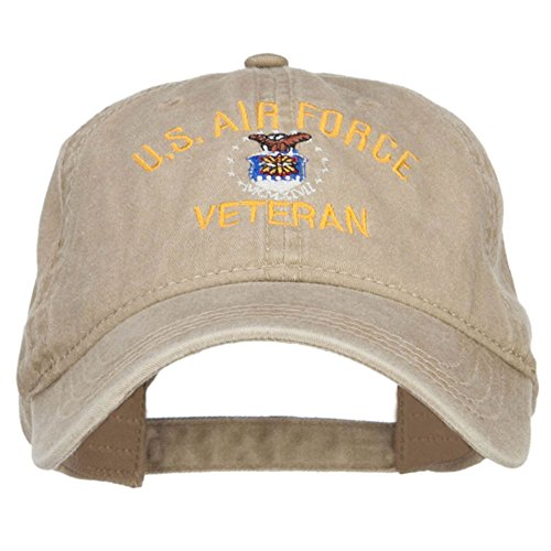 US Air Force Veteran Military Embroidered Washed Cap - Khaki OSFM