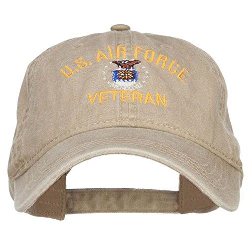 e4Hats.com US Air Force Veteran Military Embroidered Washed Cap - Khaki OSFM