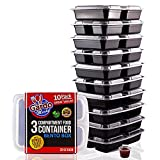 Gardo Meals 3 Compartment Food Containers with Airtight Lid and Sauce Cups, Bento Box, Lunch Box for Meal Prep, 21 Day Fix and Portion Control (Pack of 10)