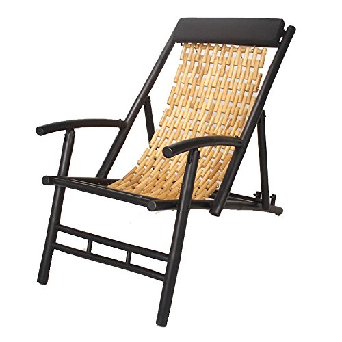 Heather Ann Creations Bamboo Linked Folding Sling Chair with Arms and Head Cushion, Black with Natural Links - Black Bamboo Chair