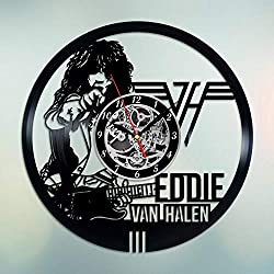 MKG Studio Vinyl Record Wall Clock Edward Lodewijk Van Halen Dutch-American Musician Songwriter 12 INCHES Decor Home Idea Handmade Gift for Her Him