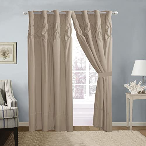 4 Piece Solid Taupe Double-Needle Stitch Pinch Pleat Grommet Window Curtain Set 108 x 84-inch