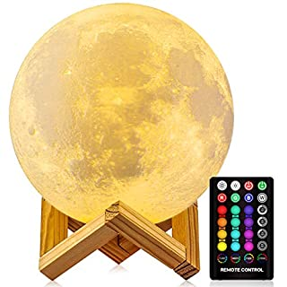 Moon Lamp Moon Night Light,3D Printing 16 Colors Moon Light with Stand & Remote &Touch Control and USB Rechargeable Decorative Light Up Moon Light for Baby Kids Lover Birthday Party Gifts (4.8 Inches)