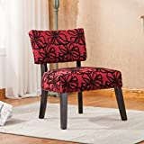 Roundhill Furniture AC121RD Taylor Red with Black Flower Oversize Accent Chair