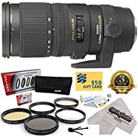 Sigma 70-200mm f/2.8 APO EX DG HSM OS FLD Large Aperture Telephoto Zoom Lens (589306) With 3 Year Extended Lens Warranty for The Nikon D1 D1X D1H D2X D2Xs D2H D2Hs D3 D3X D3s D100 D200 D300 D300S D700 D7000 D7100 D3000 D3100 D3200 D5000 D5100 D5200 D5300 D40 D40X D50 D60 D70 D90 D80 DSLR Camera Includes - 77MM Opteka Professional 5 Piece Lens Filter Accessory Kit + Deluxe Lens Cleaning Kit + LCD Screen Protectors + Mini Tripod + 47stphoto Microfiber Cloth + $50 Photo Print Gift Card!