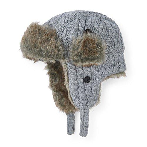 The Children's Place Little Boys' Cable Knit Trapper Cold Weather Hat, H/T Mist 89951, M (2T/3T)