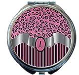 Rikki Knight Letter''L'' Light Pink Leopard Print Stripes Monogram Design Round Compact Mirror