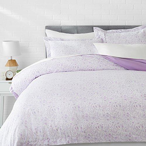 AmazonBasics Light-Weight Microfiber Duvet Cover Set - King, Lavender Paisley