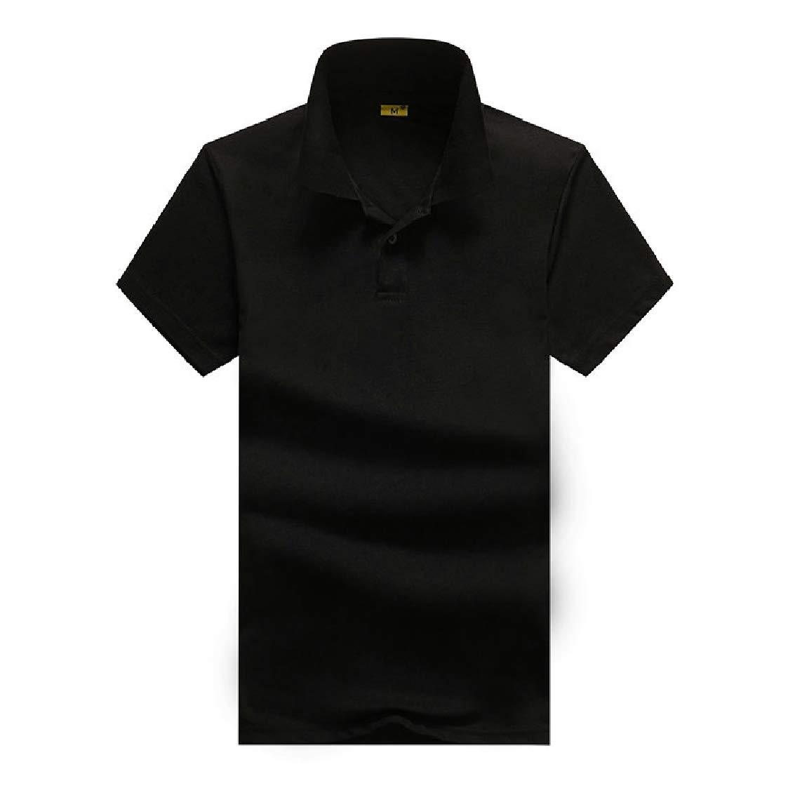 Nanquan Men Hipster Hip Hop Slim Fit Short Sleeve Solid Color Polo Shirt