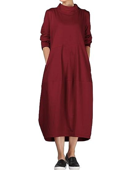 89d2a63d551fa Vogstyle Femme Robe Manches Longues Col Montant Casuel Ample Pullover  Longue Printemps Automne (S