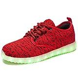 FLARUT Unisex LED Shoes Light up Sneakers Women Men USB Charging Fashion Sneakers (Red,45 EU)
