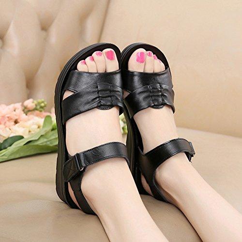 Verano de Casuales Suela Mujer Abiertas Cómodas para Suave Gene Peg Negro Zapatos Sandalias CqwEWtp