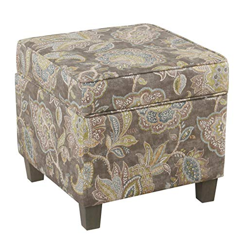 HomePop Square Storage Ottoman with Lift Off Lid, Gray Floral