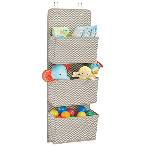 mDesign Soft Fabric Wall Mount/Over Door Hanging Storage Organizer - 3 Large Pockets for Child/Kids Room or Nursery, Hooks Included - Chevron Zig-Zag Print - Taupe/Natural