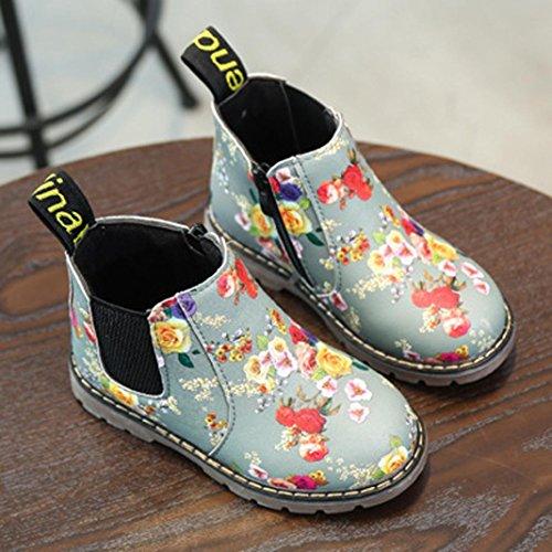 Baby Schuhe, Huhu833 Kinder Mode Jungen Mädchen Stiefel Martin Stiefel Winter Schnee Warm Ankle Boots Zipper Kinder Chelsea Schuhe Grau
