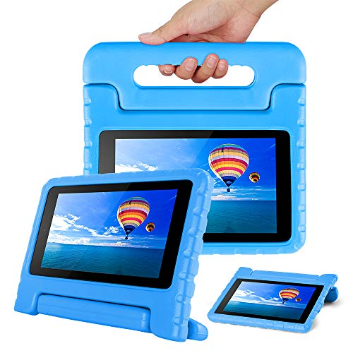 CAM-ULATA Case for Amazon Fire 7 Tablet Case for Kids 2017 2015 Shockproof Kid Proof with Handle Kindle 7th 5th Generation Cover 7 inch Blue (Kindle Fire Hdx 7 Cases For Kids)