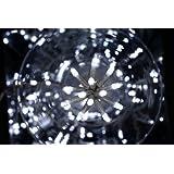 DECO NOEL - Guirlande lumineuse 100 lampes LED Blanches 6 mètres d'éclairage et 8 jeux de lumière