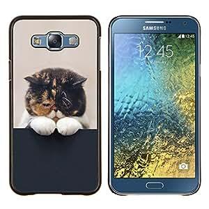 TECHCASE---Cubierta de la caja de protección para la piel dura ** Samsung Galaxy E7 E700 ** --Gatito soñoliento lindo gato del animal doméstico felino Paw