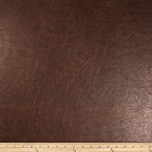 Richloom Fabrics Faux Leather Distressed Schwimmer Fabric, Saddle