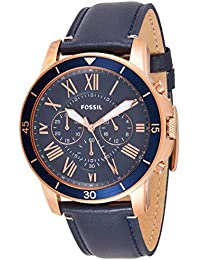 Men's Grant Sport Quartz Stainless Steel and leather Dress Watch Color: Rose gold, Navy (Model: FS5237)