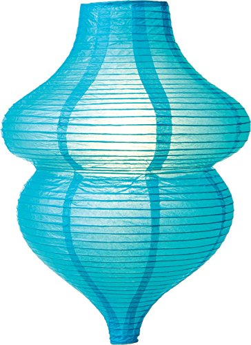 Luna Bazaar Beehive Design Paper Lantern Lamp Shade (17-Inch, Turquoise Blue) - For Weddings, Parties, and Home (Paper Lantern Shades)