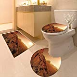 Printsonne 3 Piece Shower Mat Set from The Movie Fantastic Fictional Galaxy War Themed Pattern Sunset Mountains Brown Yellow Pattern Rug Set