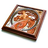 3dRose trv_171467_1 Mucha-Muse of Dance Trivet with Ceramic Tile, 8 by 8'', Brown