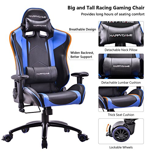 HAPPYGAME Big and Tall 400lb Gaming Chair - Adjustable Tilt, Back Angle Ergonomic High Back Racing Leather Executive Computer Desk Office Chair with Padded Headrest and Lumbar (Padded Head)