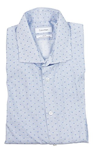 Calvin Klein Ck Grid - Calvin Klein Slim Fit Performance Non Iron Long Sleeve Button Down Shirt (Indigo, 16 34-35)